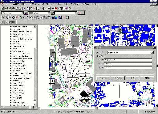 GISでは、形状のデータに、その事物の属性データもリンクされている。例えば、ここで、この建物の情報を見てみると、ベヤズィット・ジャーミーという名前や、宗教